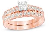 Zales 1 CT. T.W. Diamond Bridal Set in 14K Rose Gold
