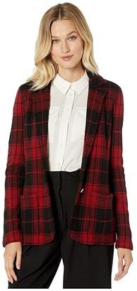 Lauren Ralph Lauren Tartan Blazer (Polo Black/Red) Women's Clothing