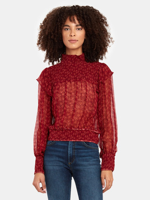 Free People Roma Smocked Neck Blouse