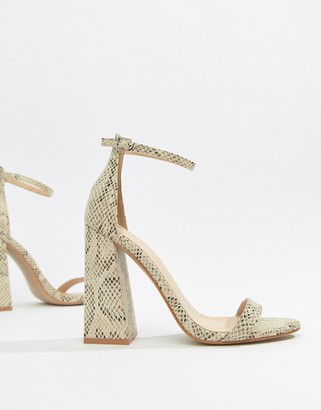 Public Desire Tess Snake Block Heeled Sandals-Multi