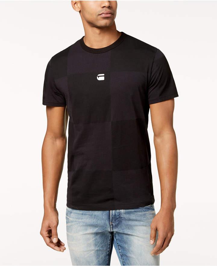 G Star Men's RC Jollu Tonal Check Logo-Print T-Shirt