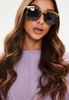 Missguided Brown Tortoise Shell Oversized Sunglasses, Brown