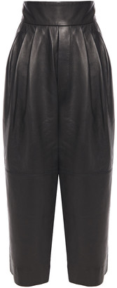 Marc Jacobs Cropped Pleated Leather Straight-leg Pants