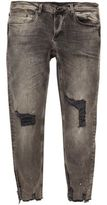 River Island MensBlack paint splattered Sid skinny jeans