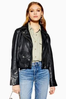 Topshop Womens Tall Black Leather Biker Jacket - Black