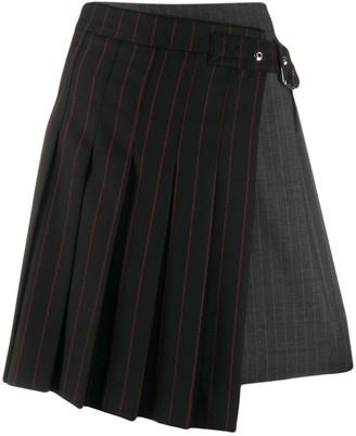 McQ Pinstripe Buckled Skirt