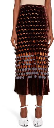 Maison Margiela Perforated Velvet Midi Skirt