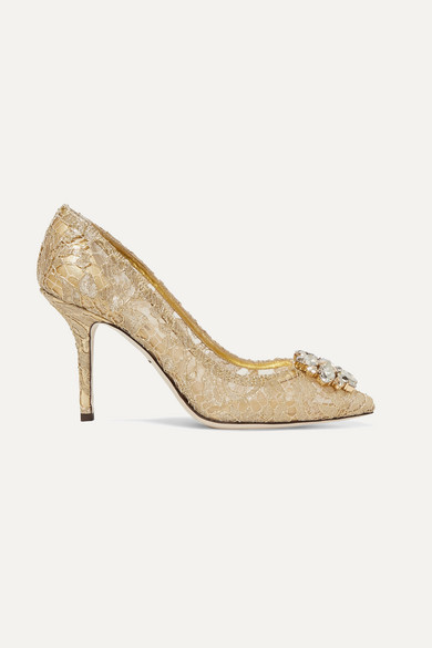 Dolce & Gabbana Crystal-embellished Corded Lace Pumps - Gold