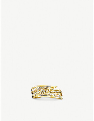 Thomas Sabo Magic leaf yellow gold-plated sterling silver and zirconia ring