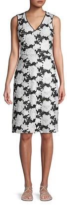 Karl Lagerfeld Paris Bi-Color Floral Lace Sheath Dress