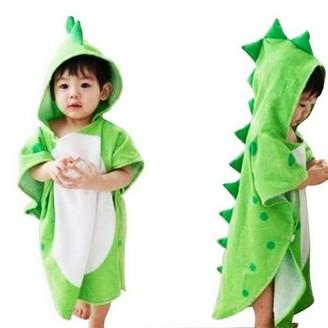 MINISTAR Children Bath Towel Robe Kids Hooded Beach Swimming Poncho Dinosaur for Both Baby Girl and Baby boy Green
