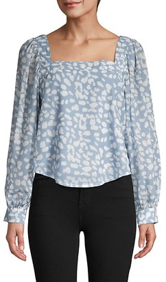 Lucca Abstract Balloon-Sleeve Top