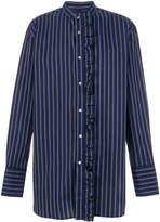 Wooyoungmi ruffled detail striped shirt