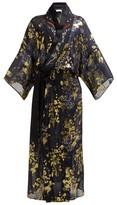 Mame Kurogouchi - Floral-print Silk-blend Fil Coupe Coat - Womens - Navy Multi