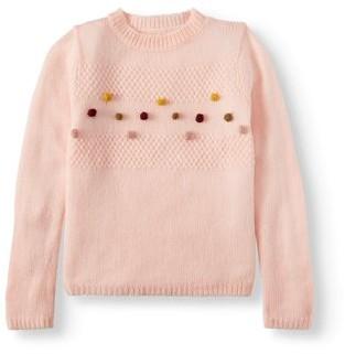 Pink Angel Pom Pom Knit Pullover Sweater (Little Girls & Big Girls)