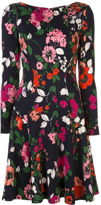 Lela Rose floral print long sleeve dress