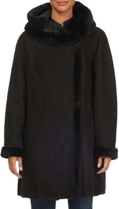 HiSO Franca Short Hooded Shearling Suede Coat