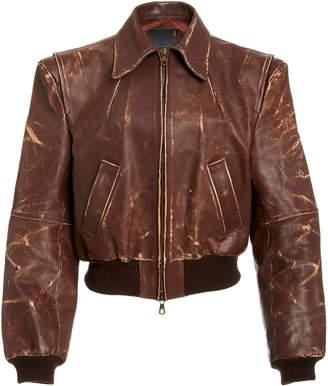 R 13 Americana Distressed Leather Zip Jacket