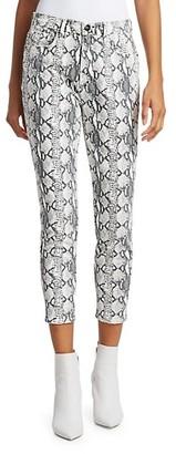 Frame Ali High-Rise Cigarette Python-Print Jeans