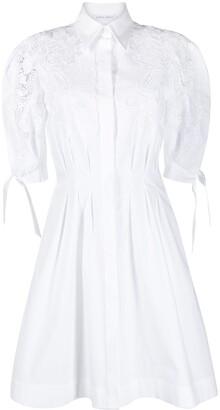 Alberta Ferretti Lace-Detailed Classic-Collar Dress