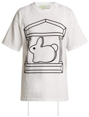 Hillier Bartley X Aries Short Sleeved Cotton T Shirt - Womens - White