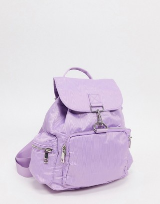 ASOS DESIGN backpack in lilac moire with dogclips