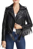 Aqua Studded Fringed Faux Leather Moto Jacket - 100% Exclusive