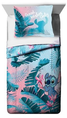 Lilo & Stitch Pink & Blue Floral Kids Reversible Comforter & Sham Set