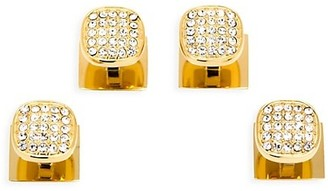 Cufflinks Inc. Ox & Bull Trading Co. 4-Piece Goldtone Stainless Steel & White Pave Crystal Stud & Cufflink Set