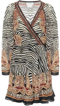 Camilla Printed silk wrap mini dress
