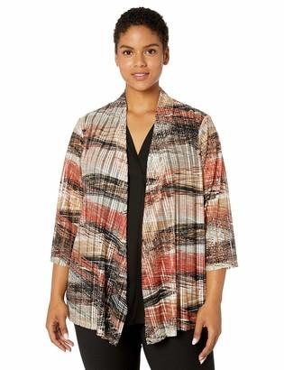 Kasper Women's Plus Size 3/4 Sleeve Open Front Whisper MESH Knit Cardigan