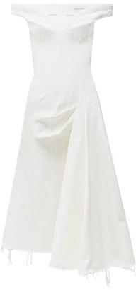 Alexander McQueen Off-the-shoulder Denim Dress - Womens - White