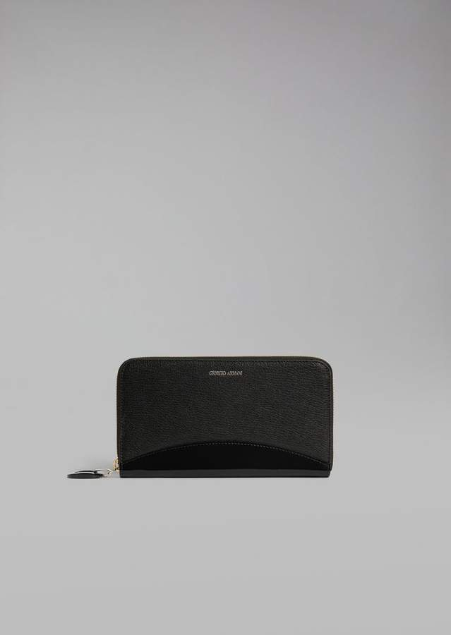 Giorgio Armani Leather And Patent Leather Wallet
