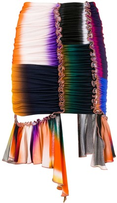 Thierry Mugler Ruched Ruffled Detail Skirt