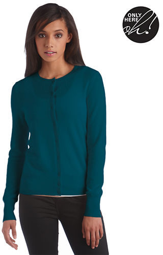 Lord & Taylor Fall Soft Collection Cashmere Crewneck Cardigan