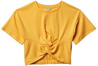 Habitual Bexley Twist Front 3/4 Sleeve Top (Big Kids) (Yellow) Girl's Clothing