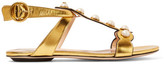 Gucci Embellished Metallic Leather Sandals - Gold