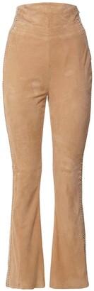 Alberta Ferretti High Waist Suede Wide Leg Pants