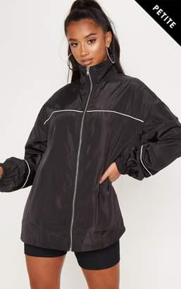 PrettyLittleThing Petite Black Longline Zip Front Shell Jacket