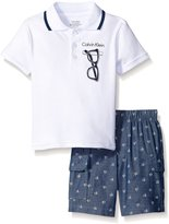 Calvin Klein Baby-Boys Interlock Body Top with Woven Shorts