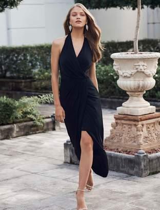 Ever New Aria Jersey Halter Drape Midi Dress