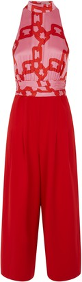 Traffic People Divided Halterneck Wide Leg Jumpsuit In Red And Pink