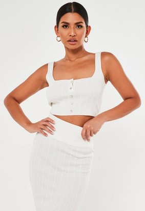 Missguided Co Ord Ribbed Button Crop Top