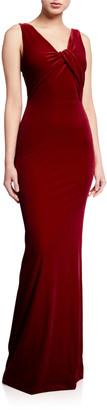 Black Halo Ryland V-Neck Sleeveless Velvet Column Gown