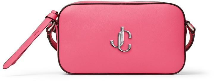 Jimmy Choo HALE Bubblegum Pink Leather Cross-Body Bag with JC Emblem