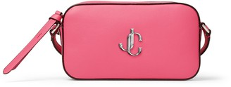 Jimmy Choo HALE Bubblegum Pink Leather Cross-Body Bag with JC Emblem