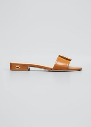 Jennifer Chamandi Andrea Flat Leather Slide Sandals with Teardrop Buckle