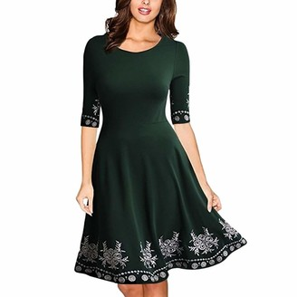 Kalorywee Dresses Women Lace Dress Half Sleeve O Neck Printed Casual Slim Prom Gown Cocktail Party Midi Dress Green