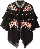 Anna Sui Poppies Ruffled Embroidered Silk-georgette Jacket - Black