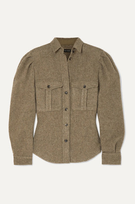Isabel Marant Florrie Brushed Wool-blend Shirt - Army green